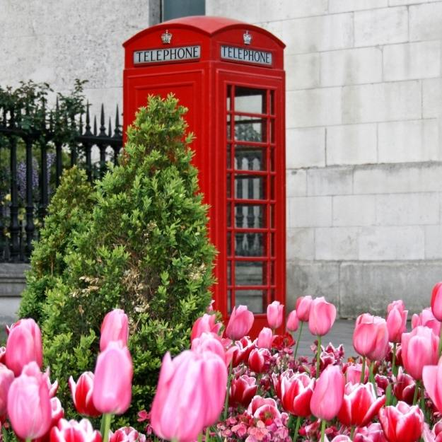 Red phone box in London.