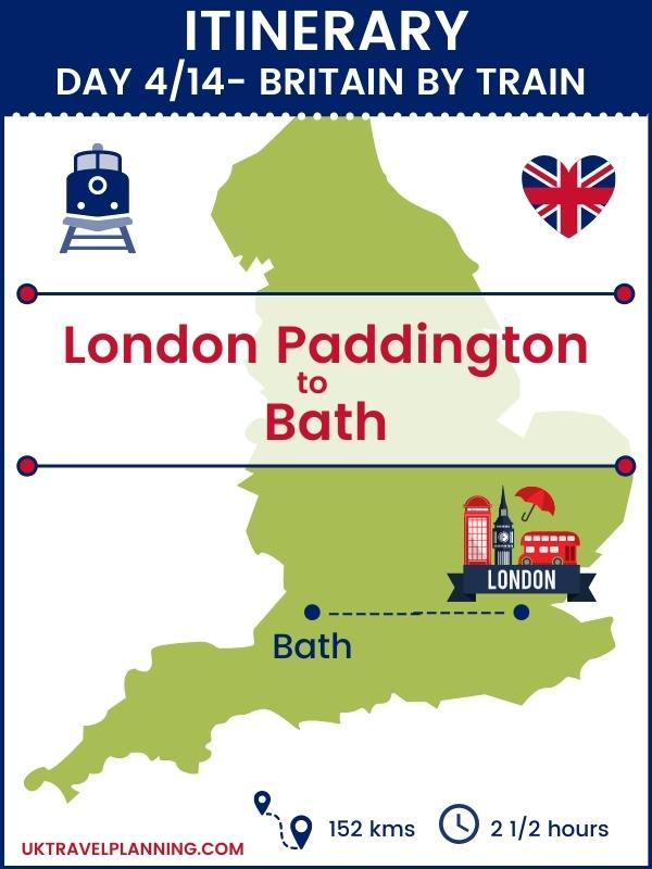 Britain by train - 14 day itinerary map showing day 4 of 14 - London to Bath.
