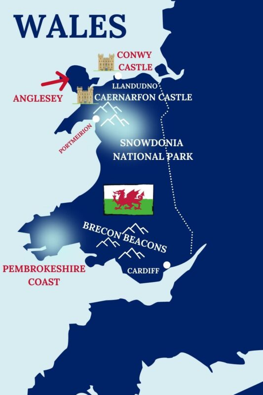 MAP OF POPULAR WELSH LANDMARKS AND CITIES