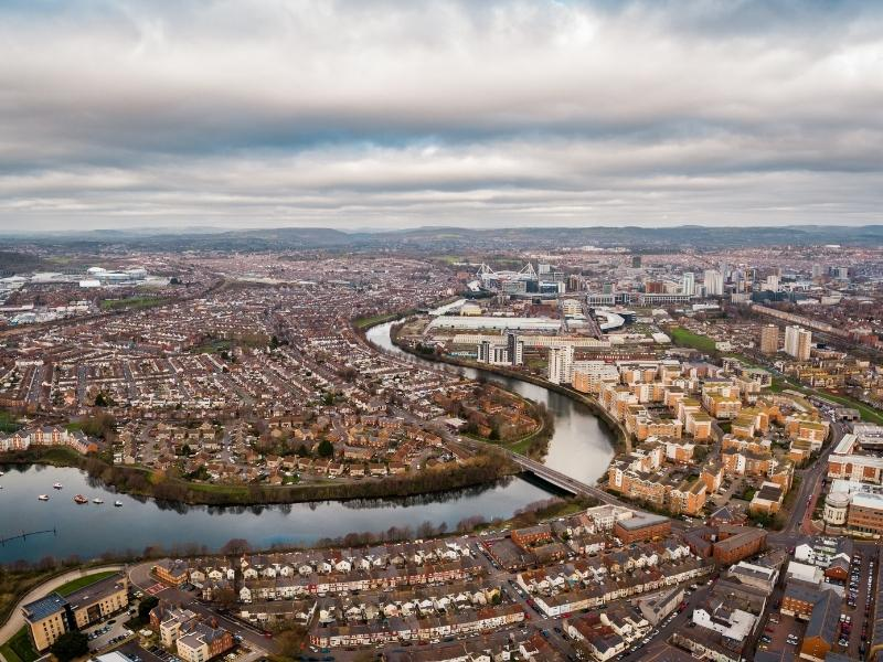 An aerial view of Cardiff Bay one of the best places and things to do in Cardiff