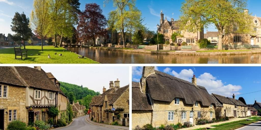 Images of stone cottages in the Cotswolds England