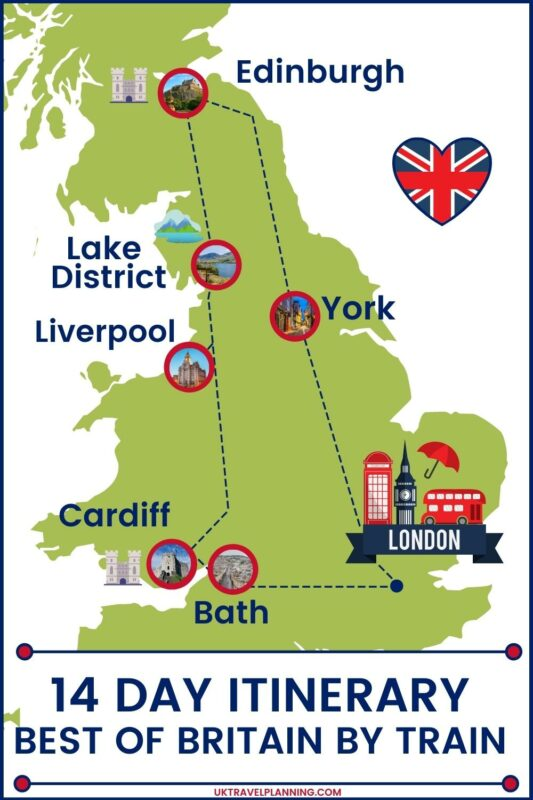 Britain by train - 14 day itinerary map.