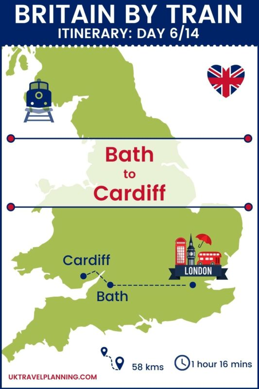 Britain by train - 14 day itinerary map showing day 6 of 14 - Bath to Cardiff.