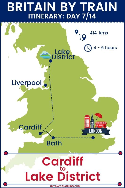 Britain by train - 14 day itinerary map showing day 7 of 14 - Cardiff to Lake District.