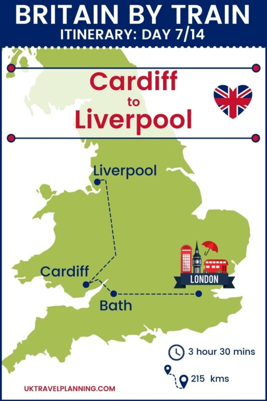 Britain by train - 14 day itinerary map showing day 7 of 14 - Cardiff to Liverpool.