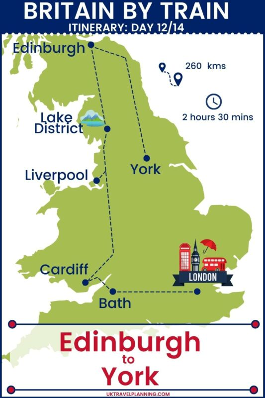 UK rail trip - 14 day itinerary map showing day 12 of 14 - Edinburgh to York.