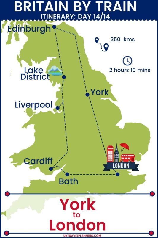 UK rail trip - 14 day itinerary map showing day 14 of 14 - York to London.