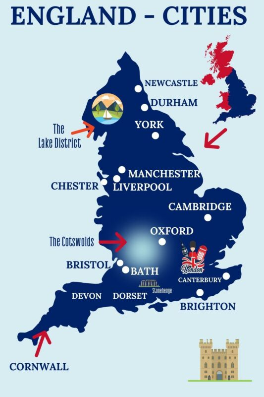 England cities map