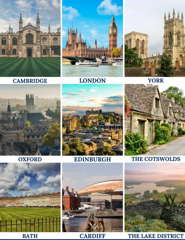 UK travel itinerary planners for a range of places as shown in the image including Edinburgh, Oxford and London.