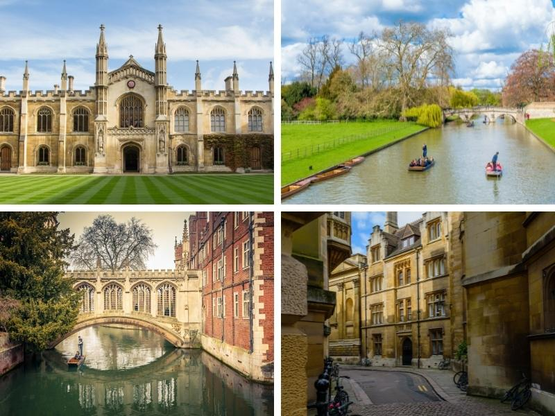 4 views of the English city of Cambridge.