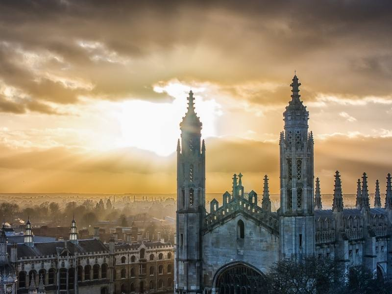 A view over the city of Cambridge England