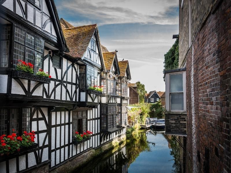 Beautiful Canterbury Tudor houses overlooking the river.