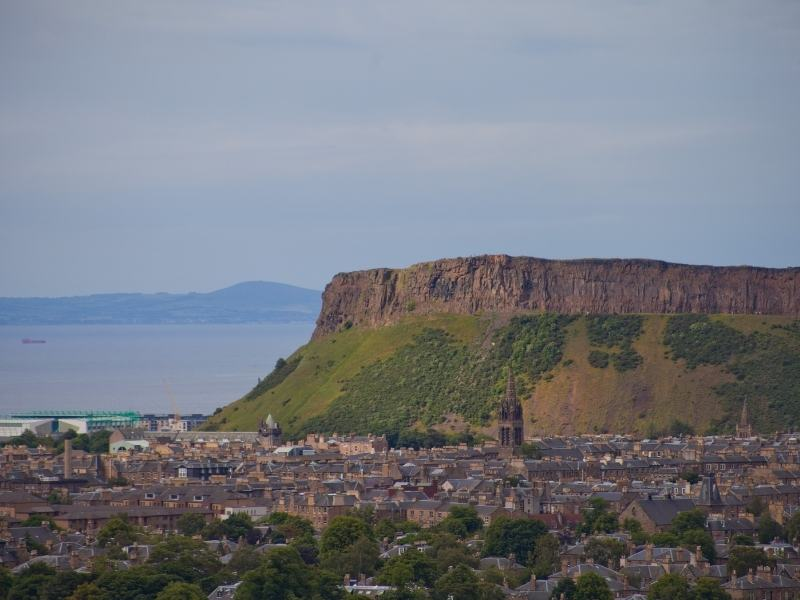 A view of Edinburgh with Arthur's Seat in the background.