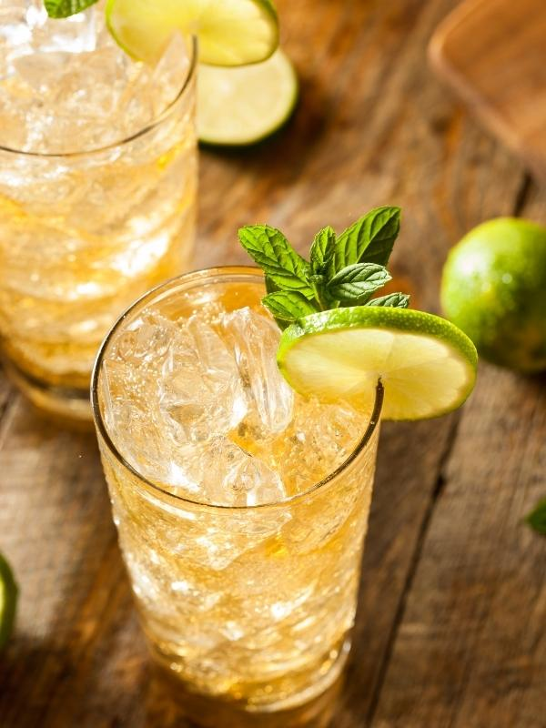 A glass of ginger ale with lime and mint leaves.