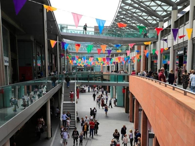 The Liverpool One shopping centre decorated with bunting.