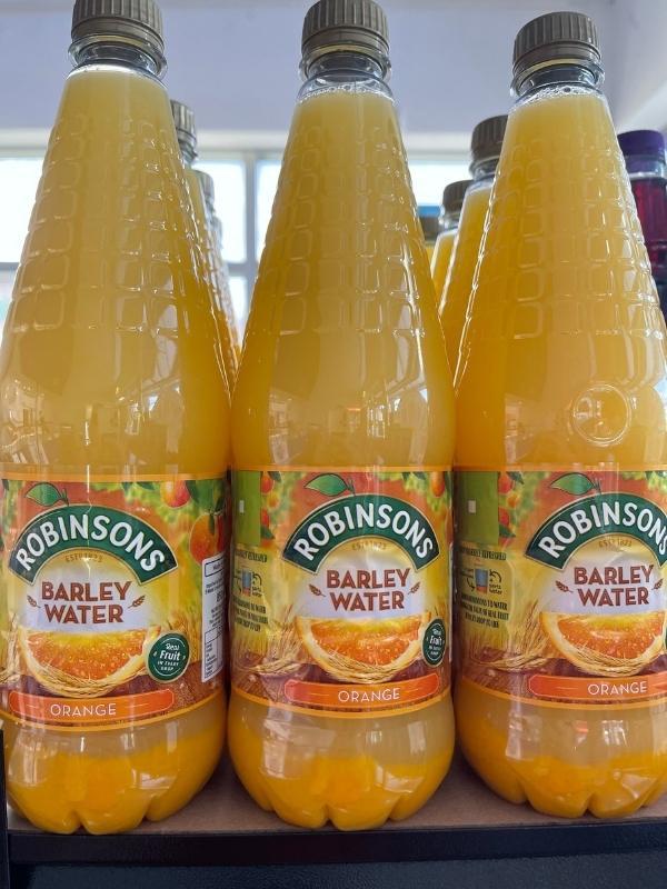 Robinsons Barley Water bottles.