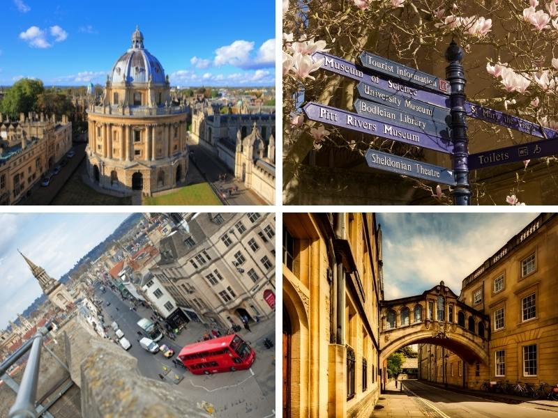 Collage of photographs of Oxford including the Redcliffe Camera, signposts and an arial view of the city