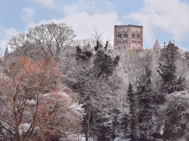St Albans Abbey and Cathedral in the snow.