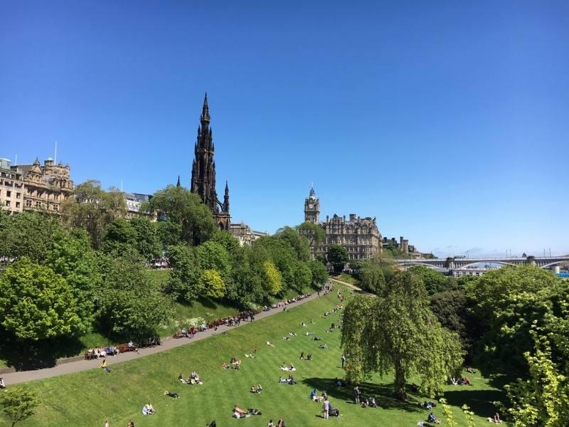 View of Scott Monument in Edinburgh.