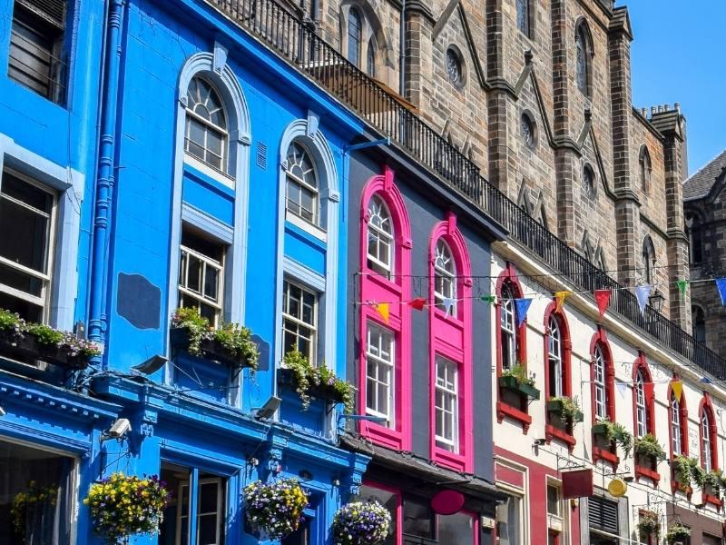 Colourful houses in Victoria Street Edinburgh.