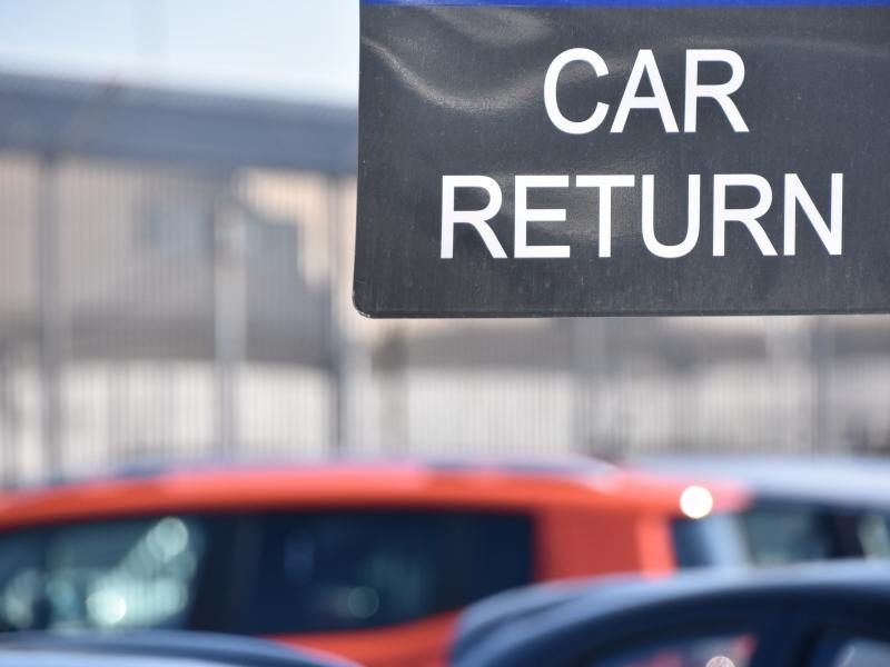 When renting a car in the UK remember to consider what you need to do when you return the car as this sign shows.