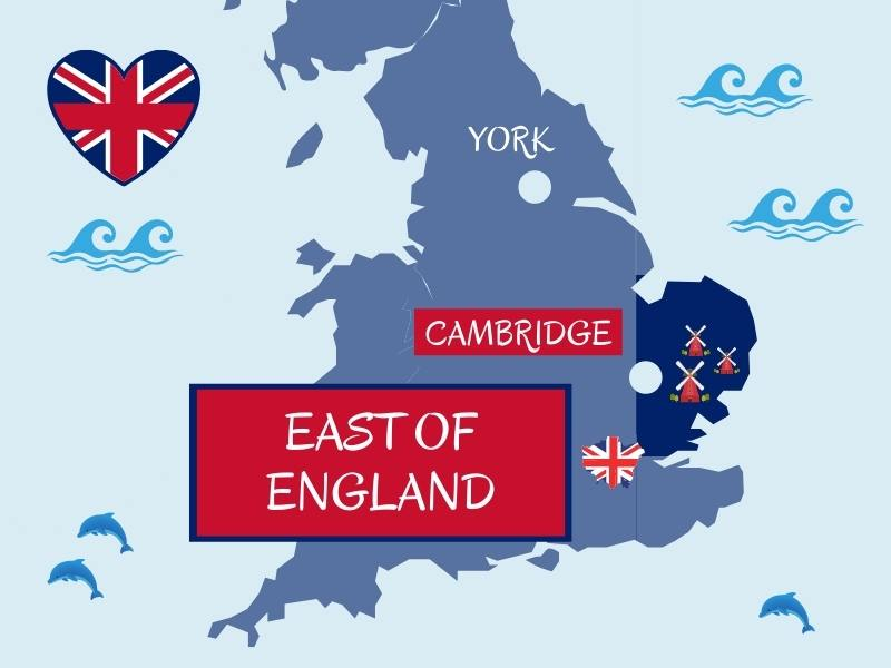 Map showing east of England and major cities
