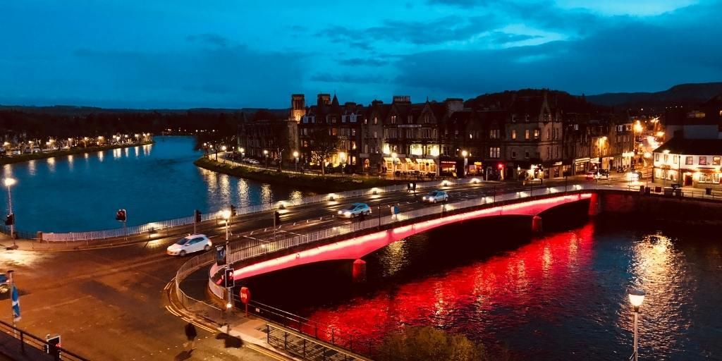Inverness Scotland at night