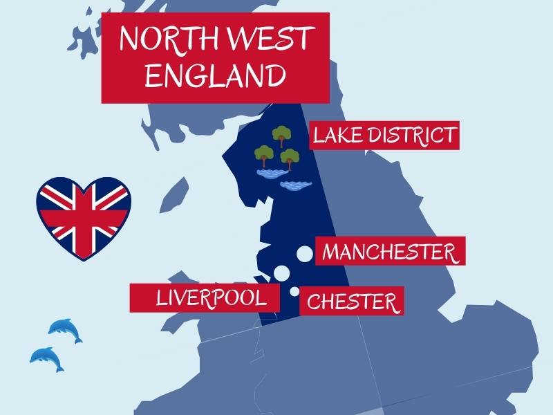 Map of north west England showing major cities and areas