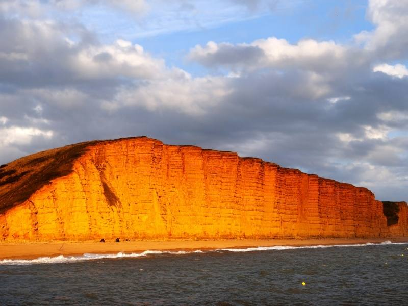 Red sandstone cliff Bridport.