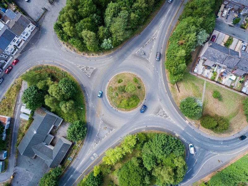 Aerial shot of a roundabout in UK.