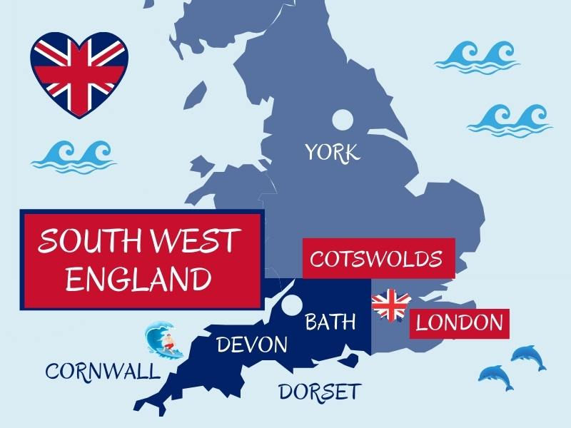 MAP OF UK showing main areas and cities