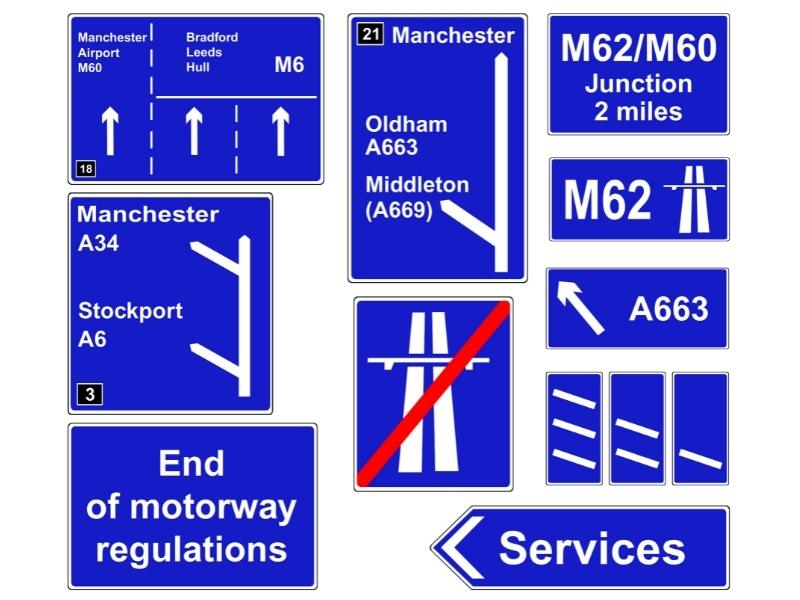 Picture of road signs in the UK.