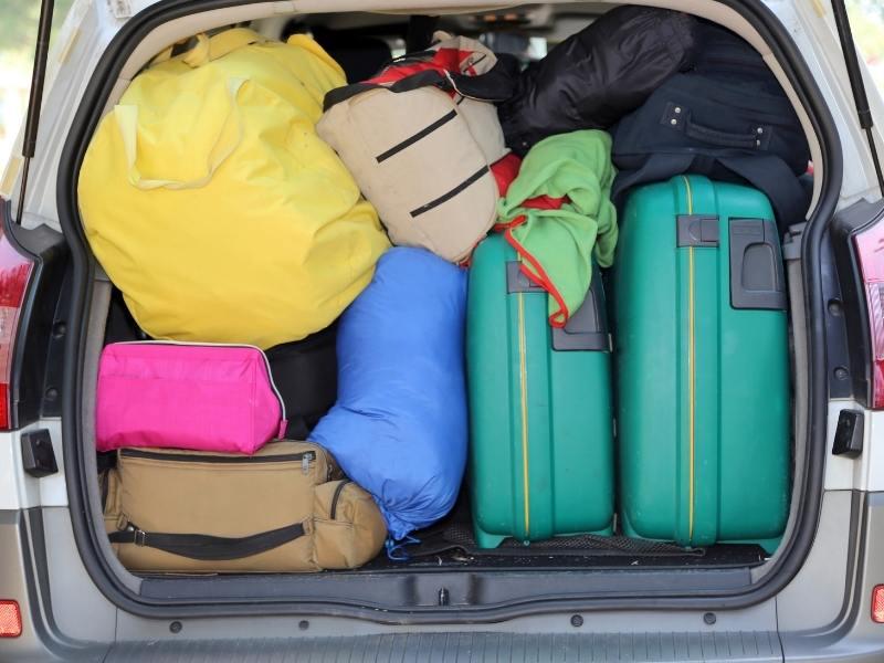 Car full of luggage.