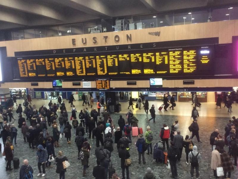 Euston train station concourse - Euston is one of the main London train stations.