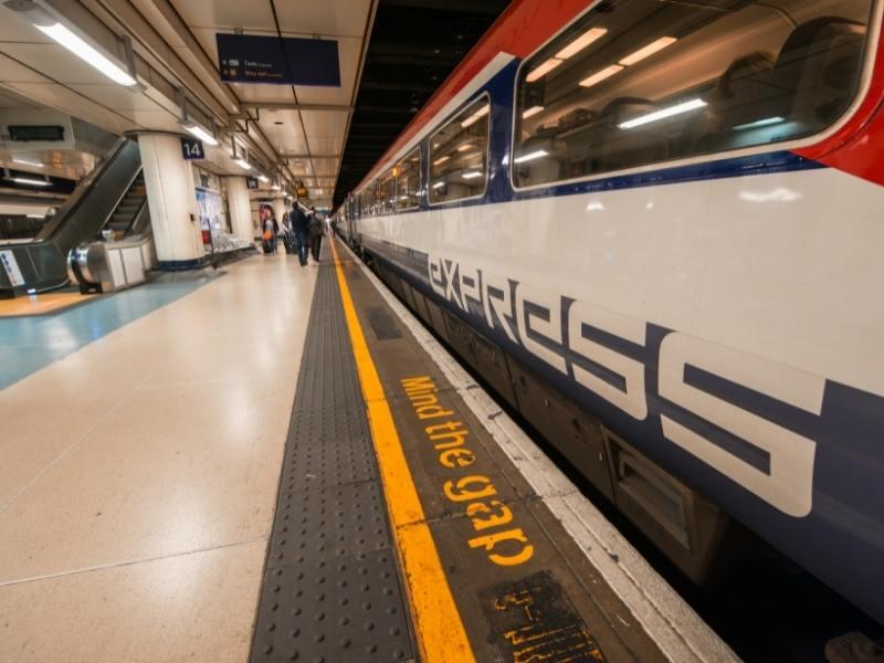 Gatwick to London on the Gatwick Express train.