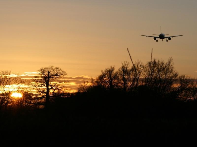 Plane landing at Gatwick airport close to London.