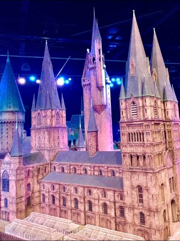 Harry Potter studios tour includes seeing a model of Hogwarts as in the photo.