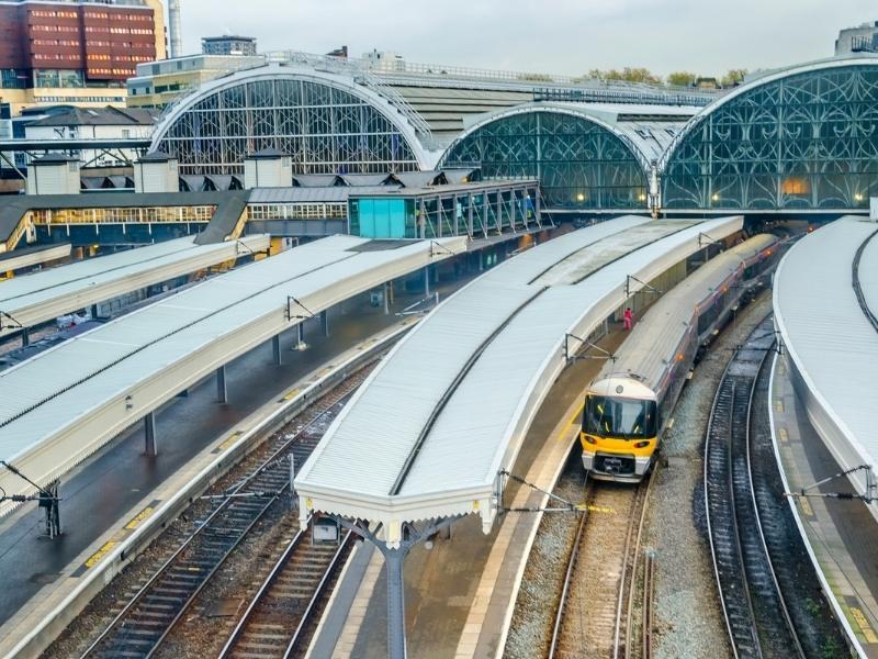 Trains at Paddington station in London.