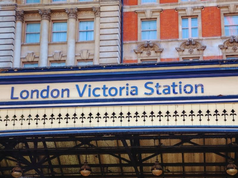 Sign outside London Victoria Train station.