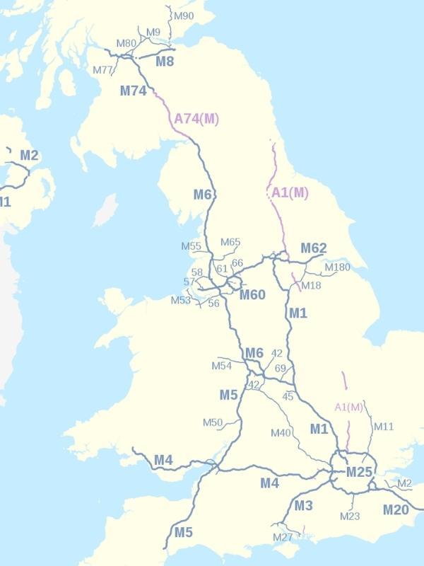 Map showing motorways in UK.