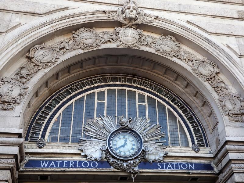 Sign outside Waterloo train station in London.