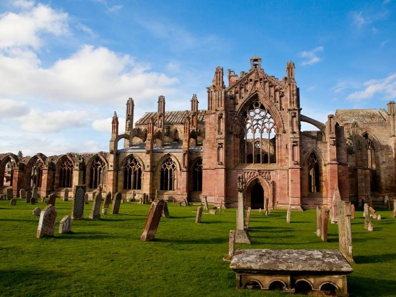 Melrose Abbey in Scotland.