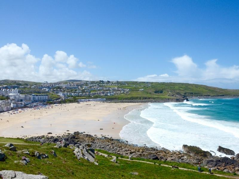 View of St Ives and St Ives Bay.