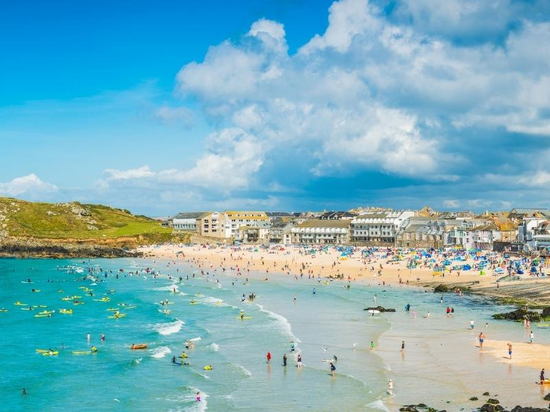 St Ives Bay and beach.