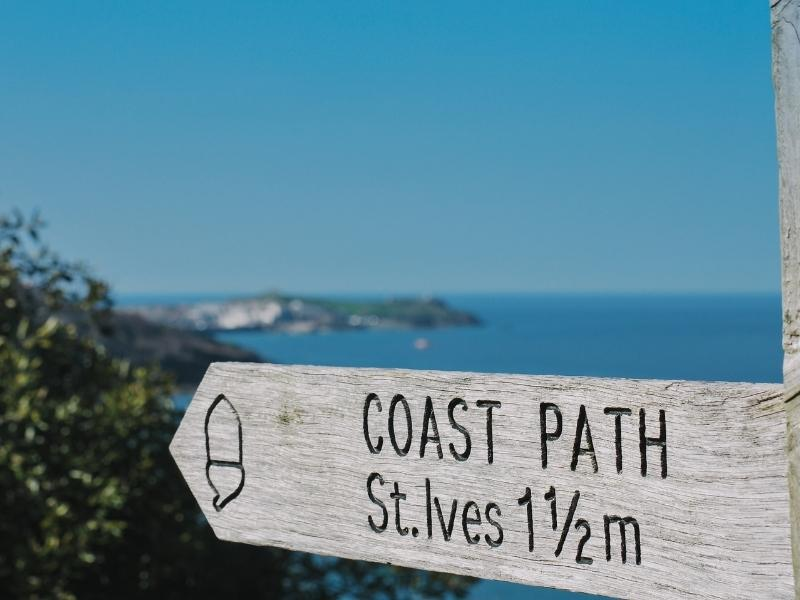 Sign for the coast path at St Ives.