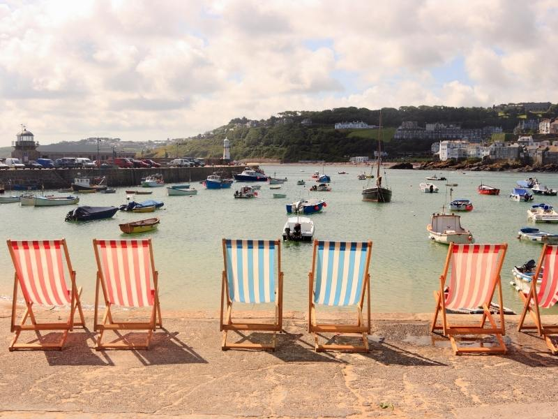 Deckchairs overlooking the harbour in St Ives.