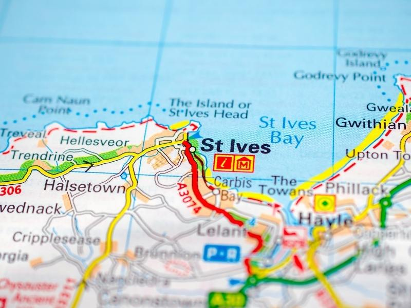 Map of St Ives.