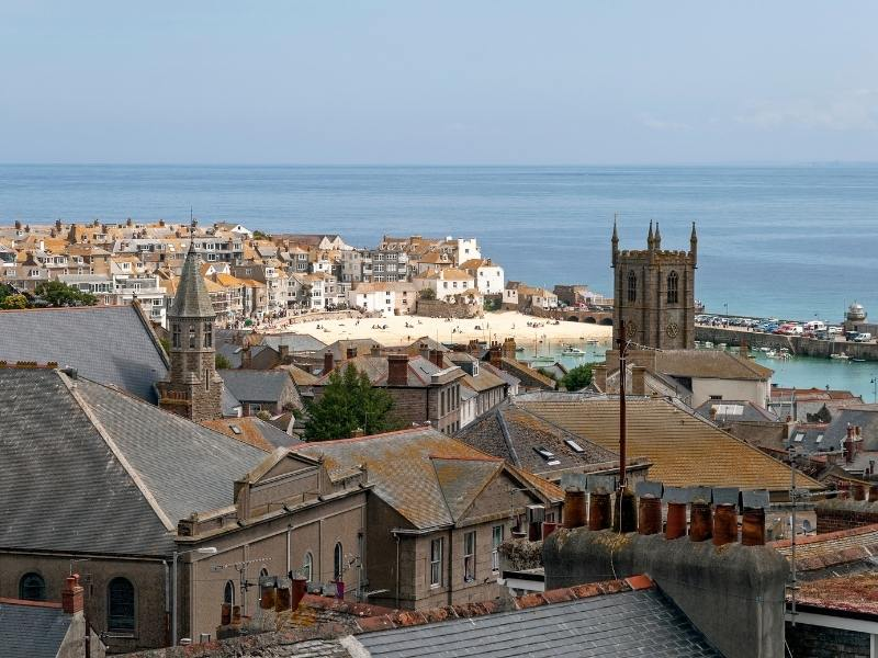 View over the pretty Cornish village of St Ives.