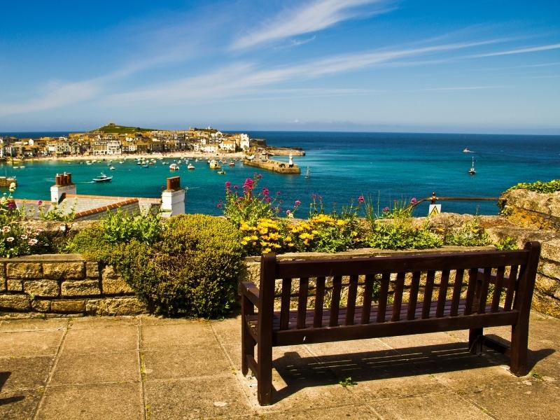 View from a wooden bench overlooking St Ives Bay.