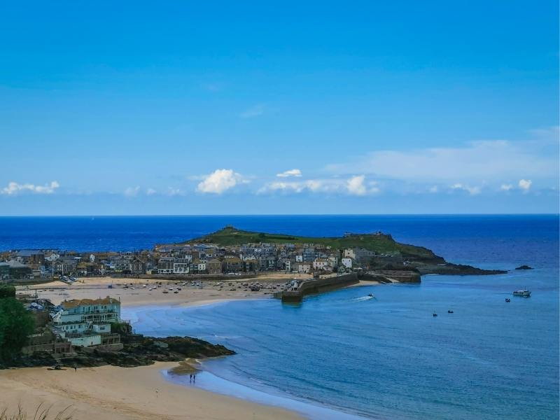Views over St Ives and Carbis Bay in Cornwall.